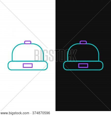 Line Beanie Hat Icon Isolated On White And Black Background. Colorful Outline Concept. Vector