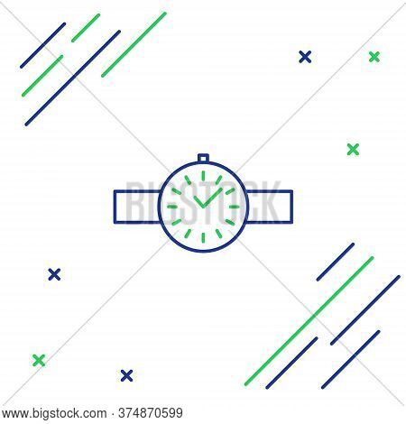 Line Wrist Watch Icon Isolated On White Background. Wristwatch Icon. Colorful Outline Concept. Vecto