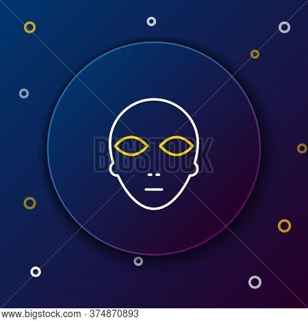 Line Alien Icon Isolated On Blue Background. Extraterrestrial Alien Face Or Head Symbol. Colorful Ou
