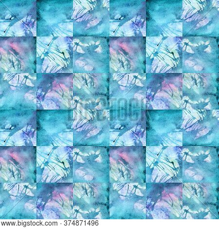 Watercolor Winter Turquoise Cyan Abstract Texture Background