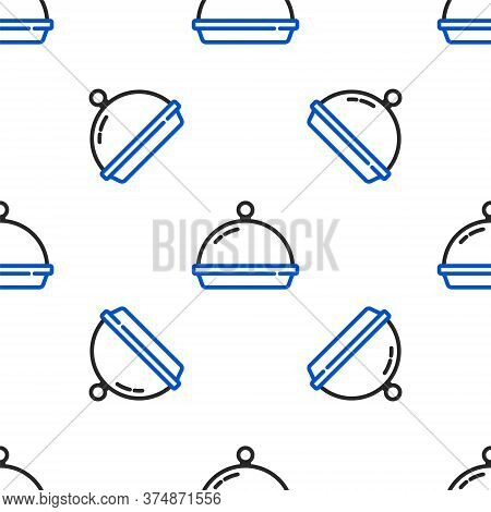 Line Covered With A Tray Of Food Icon Isolated Seamless Pattern On White Background. Tray And Lid. R