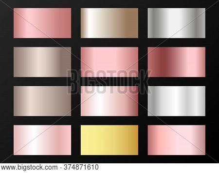 Trendy Golden, Silver, Bronze, Rose Gold Gradients. Metallic Foil Texture Silver, Steel, Chrome, Pla