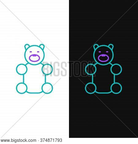 Line Jelly Bear Candy Icon Isolated On White And Black Background. Colorful Outline Concept. Vector