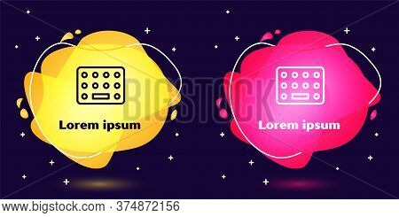Set Line Pills In Blister Pack Icon Isolated On Blue Background. Medical Drug Package For Tablet, Vi