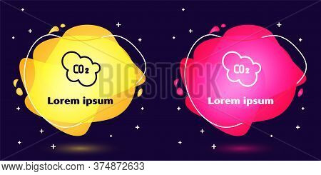 Set Line Co2 Emissions In Cloud Icon Isolated On Blue Background. Carbon Dioxide Formula, Smog Pollu