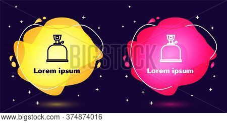 Set Line Camping Gas Stove Icon Isolated On Blue Background. Portable Gas Burner. Hiking, Camping Eq