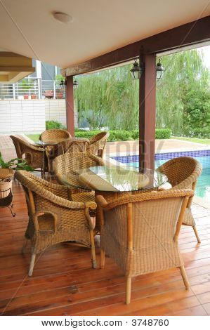 Cane Chairs And Table