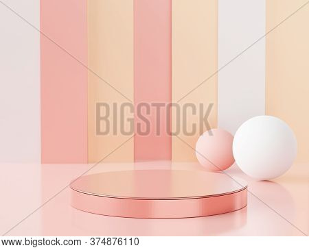 3d Abstract Minimalist Geometric Forms. Pink Coral Luxury Podium Display For Your Design. Fashion Sh