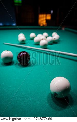 The Game Of Russian Billiards. Billiard Balls On Gaming Table.