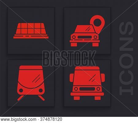 Set Car, Taxi Car Roof, Map Pointer With Taxi And Tram And Railway Icon. Vector