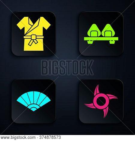 Set Japanese Ninja Shuriken, Japanese Costume Kimono, Paper Chinese Or Japanese Folding Fan And Sush