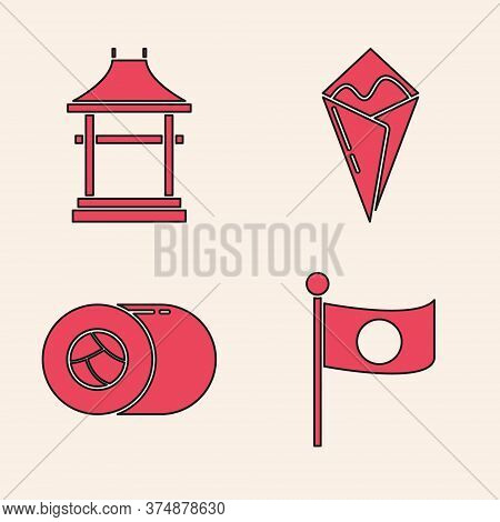 Set National Flag Of Japan On Pole, Japan Gate, Temaki Roll And Sushi Icon. Vector