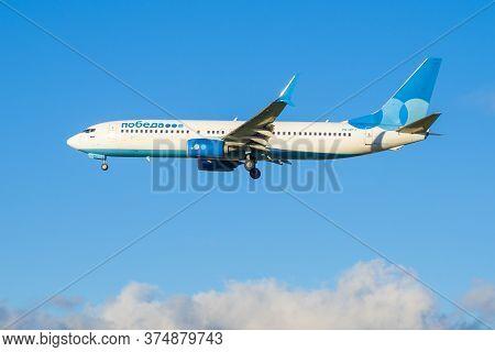 Saint Petersburg, Russia - October 25, 2018: Airplane Boeing 737-800 (vq-btj) Of Pobeda Airlines On