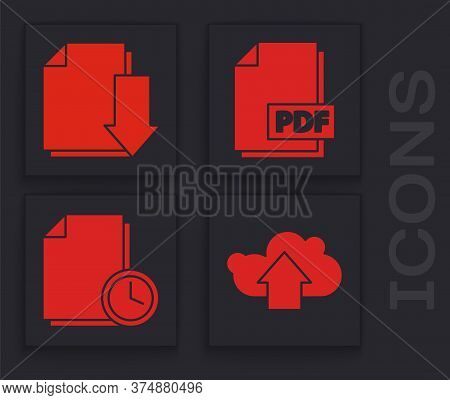 Set Cloud Upload, Document With Download, Pdf File Document And Document With Clock Icon. Vector