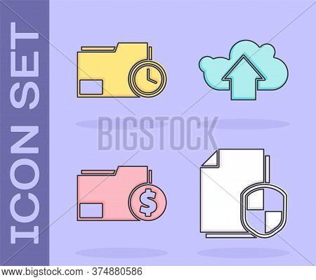 Set Document Protection Concept, Document Folder With Clock, Finance Document Folder And Cloud Uploa