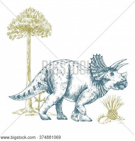 Beautiful Composition With Cute Vector Triceratops Dinosaur Illustrations.