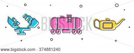 Set Wrecked Oil Tanker Ship, Oil Railway Cistern And Canister For Motor Oil Icon. Vector