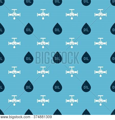 Set Oil Drop And Broken Pipe With Leaking Water On Seamless Pattern. Vector