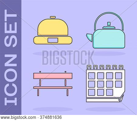Set Calendar, Beanie Hat, Bench And Kettle With Handle Icon. Vector