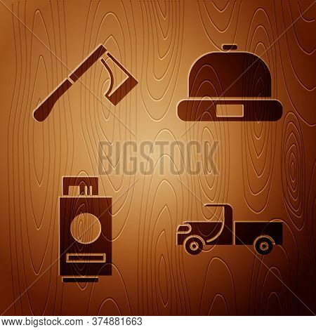 Set Pickup Truck, Wooden Axe, Passport With Ticket And Beanie Hat On Wooden Background. Vector