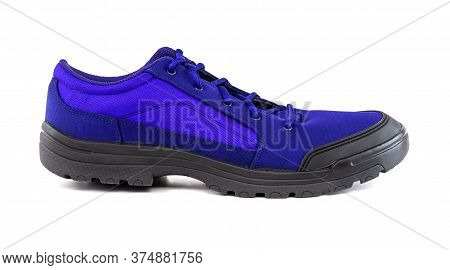 Right Cheap Fantom Blue Hiking Or Hunting Shoe Isolated On White Background