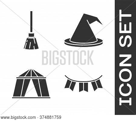 Set Carnival Garland With Flags, Witches Broom, Circus Tent And Witch Hat Icon. Vector