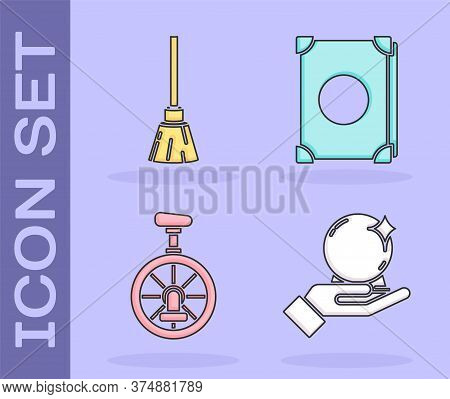 Set Magic Ball On Hand, Witches Broom, Unicycle Or One Wheel Bicycle And Ancient Magic Book Icon. Ve