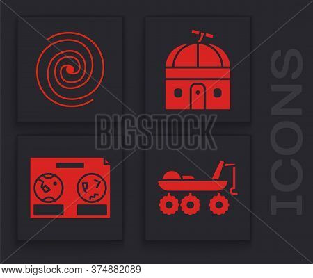 Set Mars Rover, Black Hole, Astronomical Observatory And Celestial Map Of The Night Sky Icon. Vector