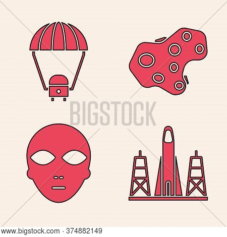 Set Rocket Launch From The Spaceport, Space Capsule And Parachute, Asteroid And Alien Icon. Vector