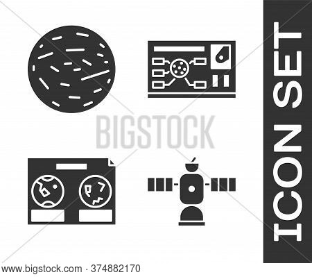 Set Satellite, Planet Venus, Celestial Map Of The Night Sky And Futuristic Hud Interface Icon. Vecto