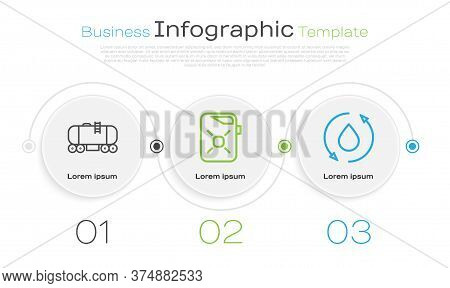 Set Line Oil Railway Cistern, Canister For Motor Oil And Oil Drop. Business Infographic Template. Ve