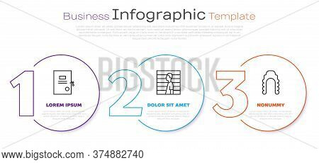 Set Line Lawsuit Paper, Suspect Criminal And Judge Wig. Business Infographic Template. Vector
