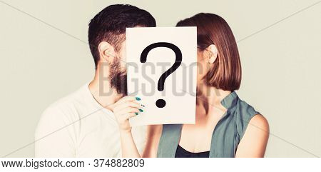 Couple Holding Paper Question Mark. Anonymous, Man And Woman Question. Kiss Couple, Incognita. Probl