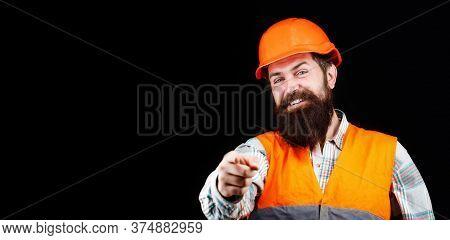 Man Builders, Industry. Builder In Hard Hat, Foreman Or Repairman In The Helmet. Portrait Of A Build