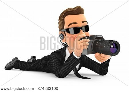 3d Security Agent Lying Down With Camera, Illustration With Isolated White Background