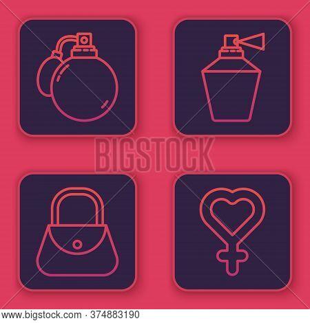 Set Line Perfume, Handbag, Perfume And Female Gender Symbol. Blue Square Button. Vector