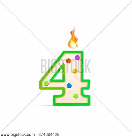 Four Years Anniversary, 4 Number Shaped Birthday Candle With Fire On White