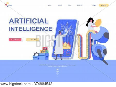 Artificial Intelligence Flat Landing Page Template. Machine Learning Concept Scientists Programming