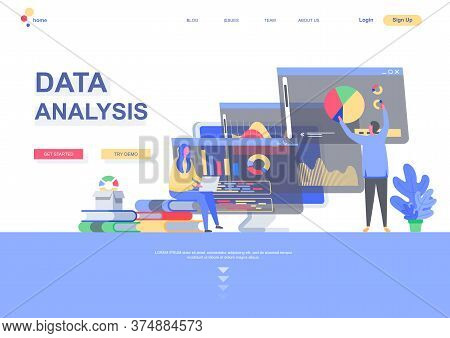 Data Analysis Flat Landing Page Template. Business Infographics, Analyst Doing Marketing Research Si