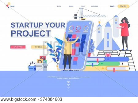Startup Your Project Flat Landing Page Template. New Startup Founding, Business Idea Generation And