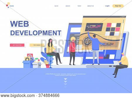 Web Development Flat Landing Page. Front End And Back End Development, Developers Team Create Intern