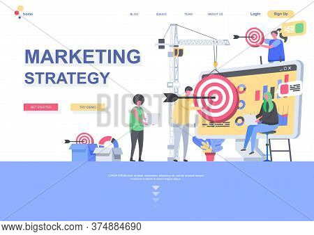 Marketing Strategy Flat Landing Page Template. Segmentation, Targeting And Positioning, Analytic Tea