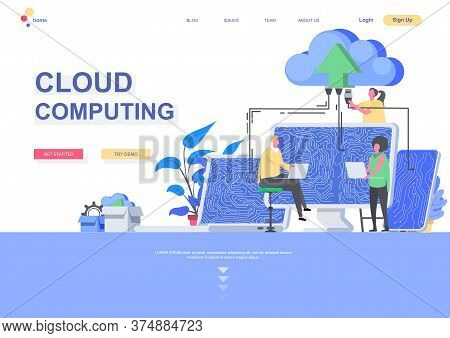 Cloud Computing Flat Landing Page Template. Big Data Processing And Cloud Storage Technology, It Spe