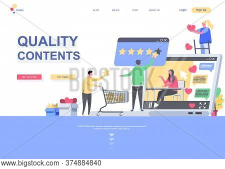 Quality Contents Flat Landing Page Template. People Giving Quality Estimation Of Media Or Post Situa