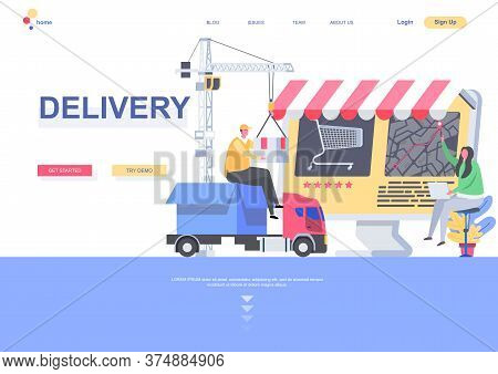 Delivery Flat Landing Page Template. Logistics And Route Tracking, Courier With Parcel Situation. We