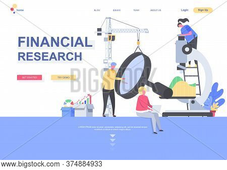 Financial Research Flat Landing Page Template. Analysts Carefully Studying Data With Magnifying Glas