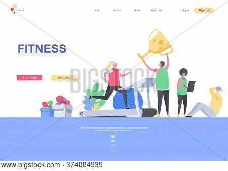 Fitness Flat Landing Page Template. People Training And Taking Part In Sports Competitions Situation