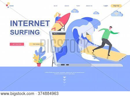 Internet Surfing Flat Landing Page Template. Internet Browsing, Man Surfing Waves On Smartphone As S