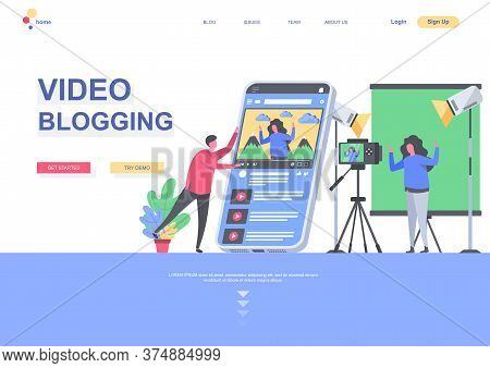 Video Blogging Flat Landing Page Template. Blogger Making Video In Studio, Vlogging And Streaming Si