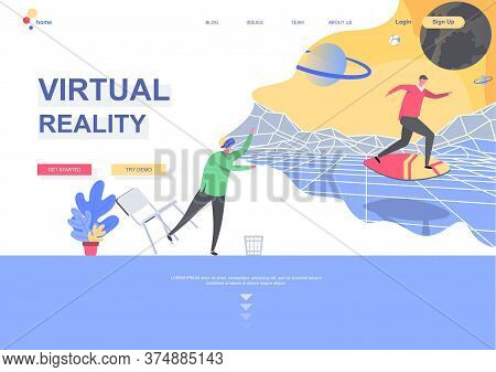 Virtual Reality Flat Landing Page Template. Man Wearing Virtual Reality Glasses Playing Game In Cybe